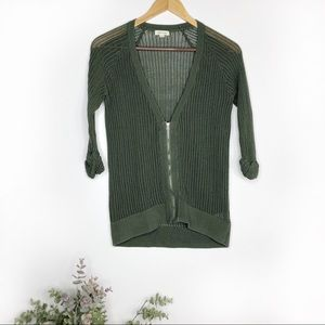 SILENCE + NOISE • olive green mesh zip up sweater